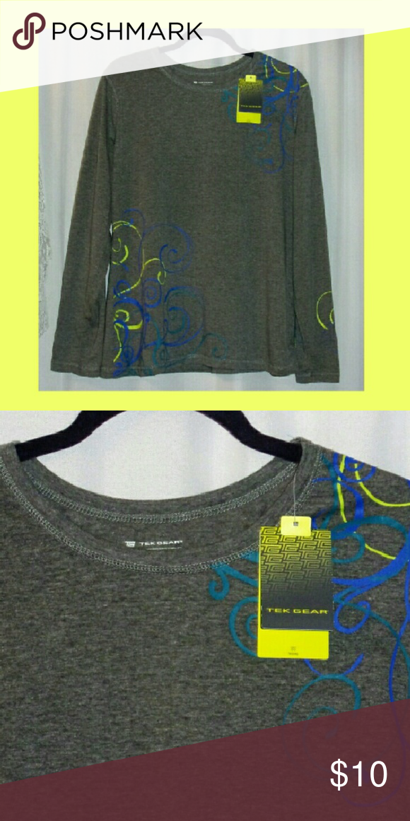 """Tek gear long sleeve tee size xl Bust 44"""". Length 28"""". Blend cotton  Polyester.  Has wicking that draws moisture. Nwt. Sold at kohl's. tek gear Tops Tees - Long Sleeve"""