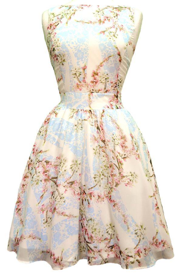 Pastel Pink Bouquet Chiffon Tea Dress | Dress Sites And Vintage Dresses