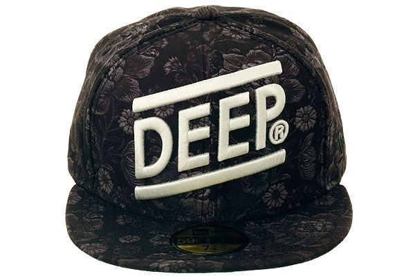 99b1ea5898f35 10 Deep Slope Floral Fitted Hat - Black