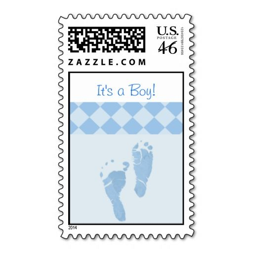 Baby Feet Blue Itu0027s A Boy Baby Shower Stamps