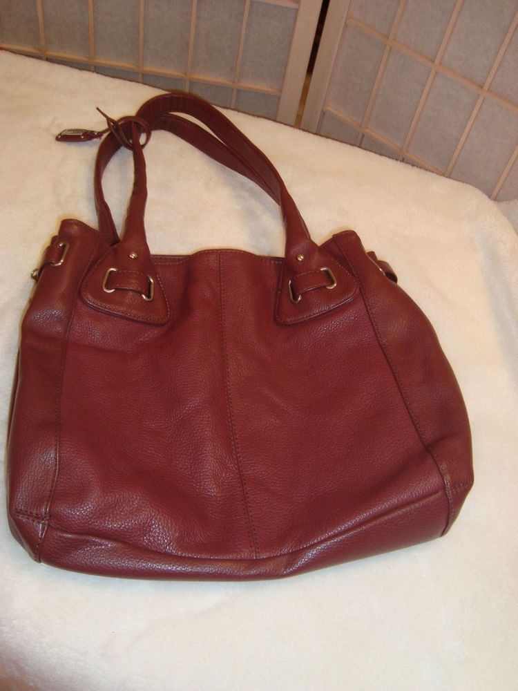 Stone Co Burgundy Red Large Pebbled Leather Shoulder Bag Handbag Purse Stoneco