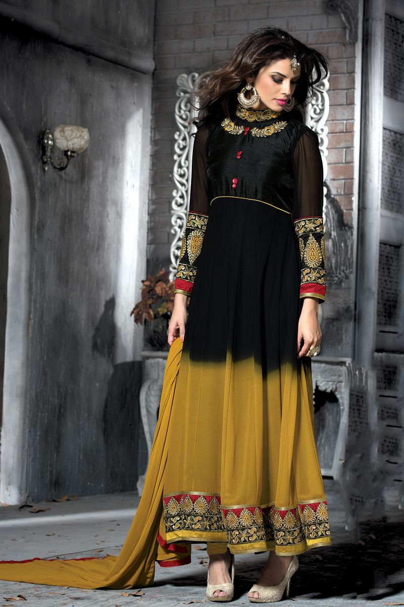 Black color long lenght designer party wear salwar kameez set from
