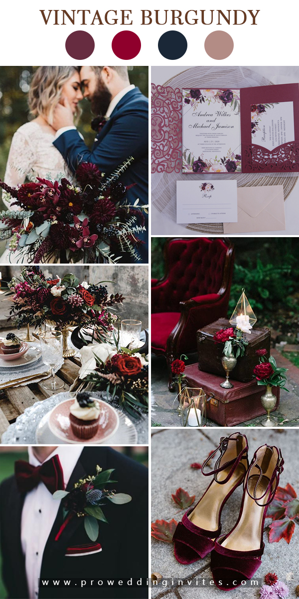 Burgundy Wedding Invitations from Pro Wedding Invites and Matching Themes