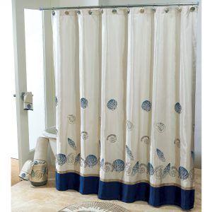 Blue Seashell Shower Curtain