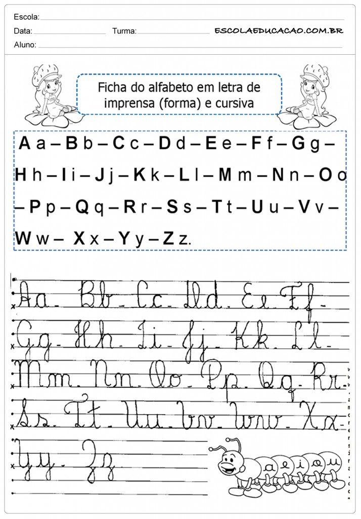 Alfabeto Cursivo Com Imagens Atividades Com O Alfabeto