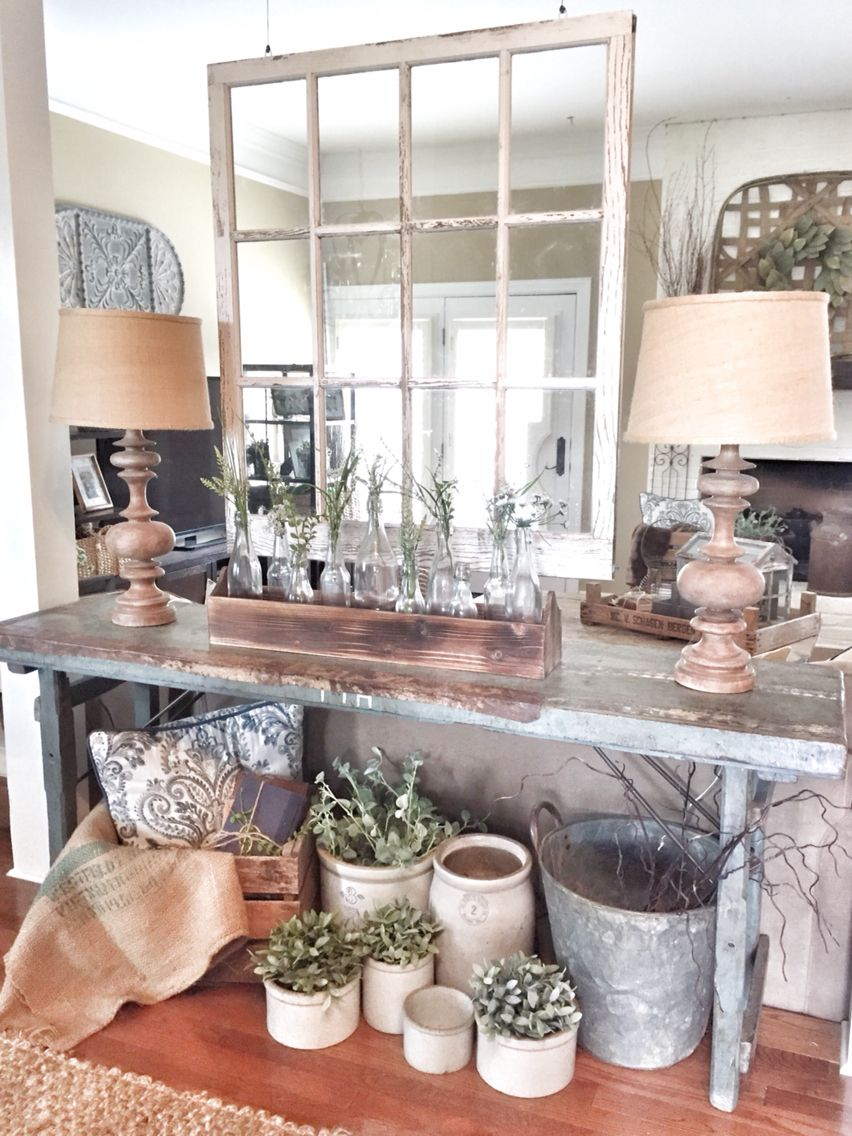 Rustic kitchen window decor  farmhouse and fixer upper style hanging window separating the space