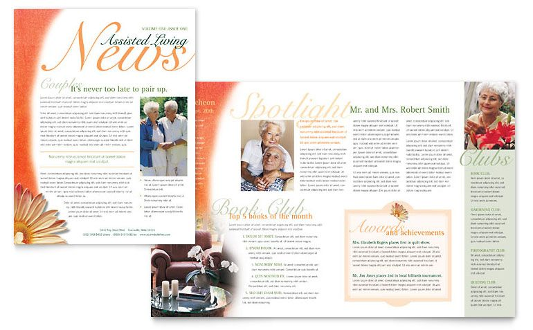 Newsletter Formats  Assisted Living Facility Newsletter  Word
