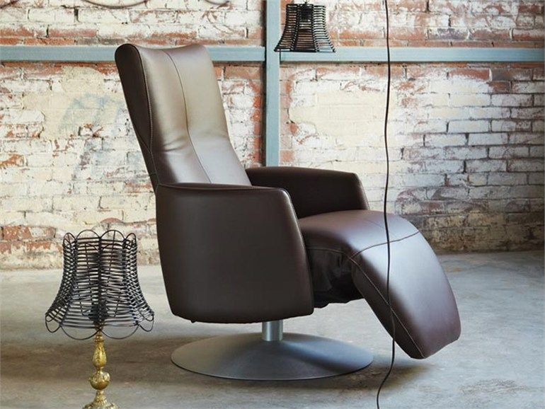 Swivel recliner leather armchair with motorised functions with ...