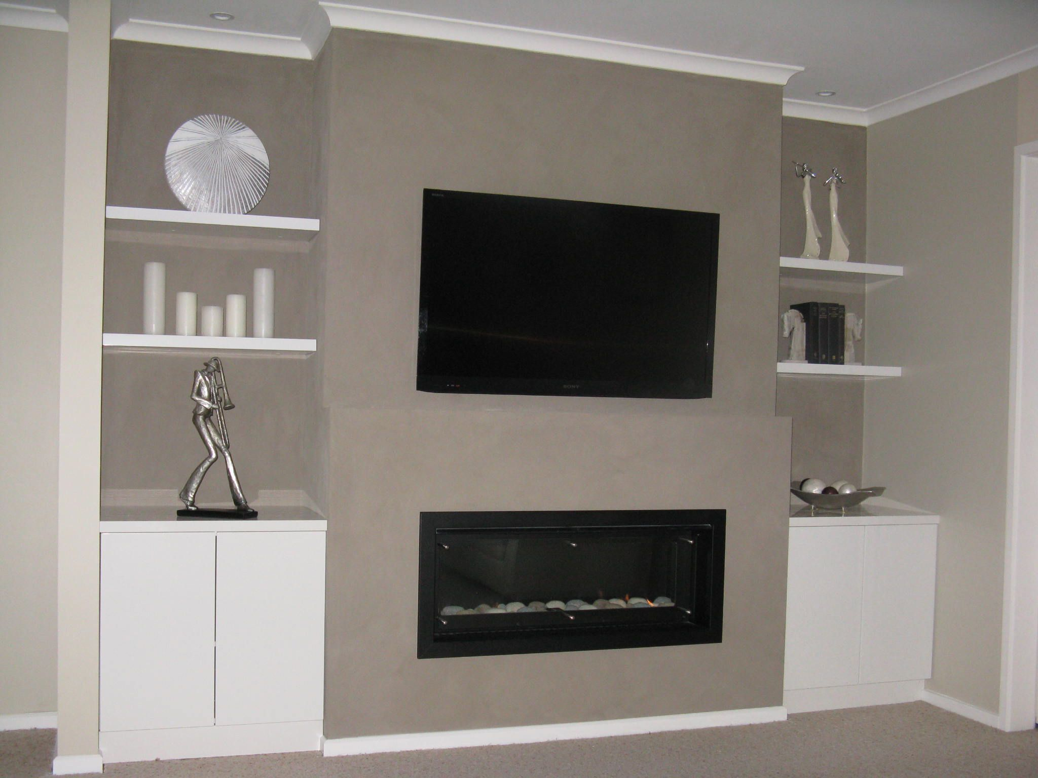 Stair Box In Bedroom: Ethanol Fireplace With Tv Above - Google Search