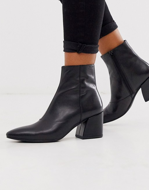 Vagabond Olivia black leather pointed mid heeled ankle boots