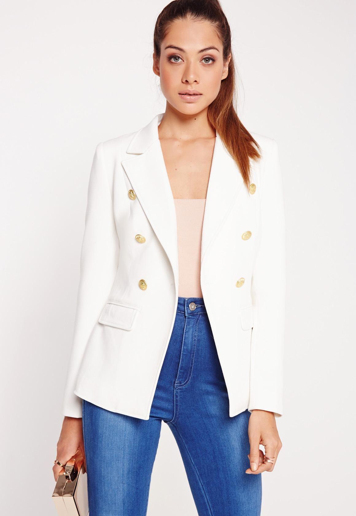 Missguided - Military Style Blazer White | fashion | Pinterest ...