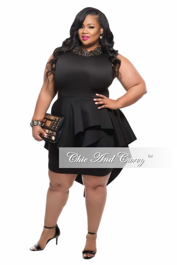 dda1a5fcb07 New Plus Size BodyCon Sleeveless Dress with Peplum Tail in Black with Gold  Zipper