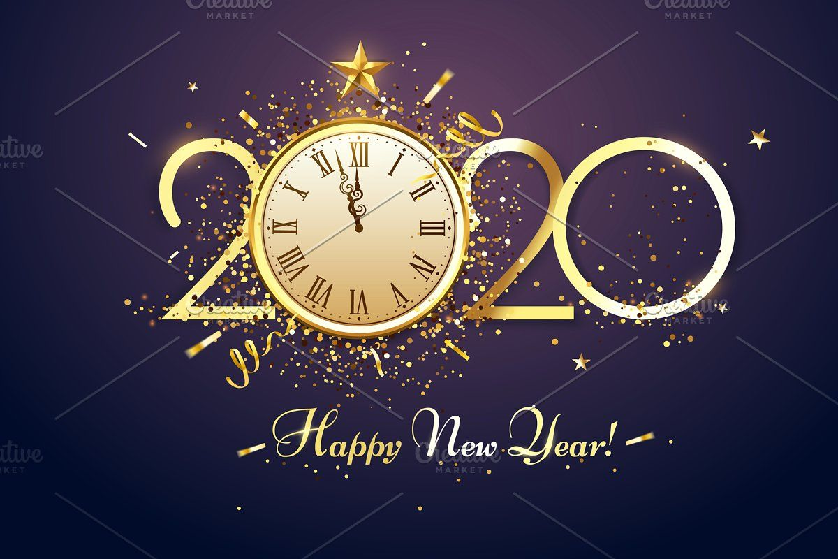 Happy 2020 New Year. Party countdown New year clock, New
