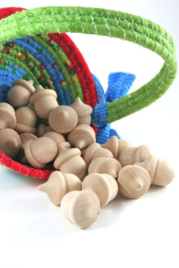100 Wood Acorns Unfinished Wooden Acorn For Waldorf Nature Table