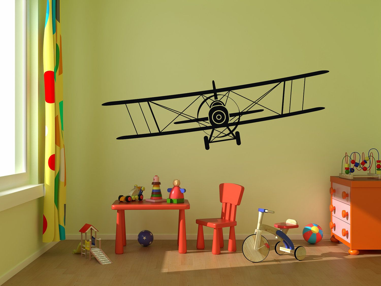 Biplane airplane vinyl wall decal graphics 50x15 bedroom