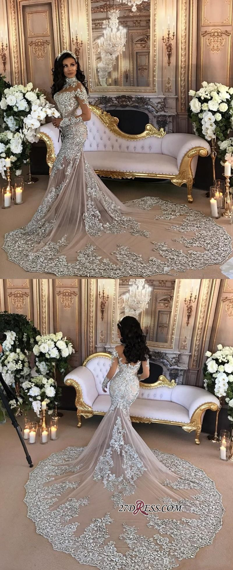 Silver Luxury Lace Long-Sleeve Mermaid High-Neck Wedding Dresses BH ...