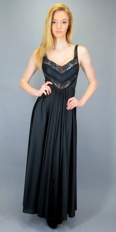 b4ffd6d88716 Vintage 80s Black Sheer Lace Nightgown Slip Dress Long Maxi Gown Nylon  Grand Sweep Low Back Goth Lingerie Nightie Negligee by BlueFridayVintage on  Etsy