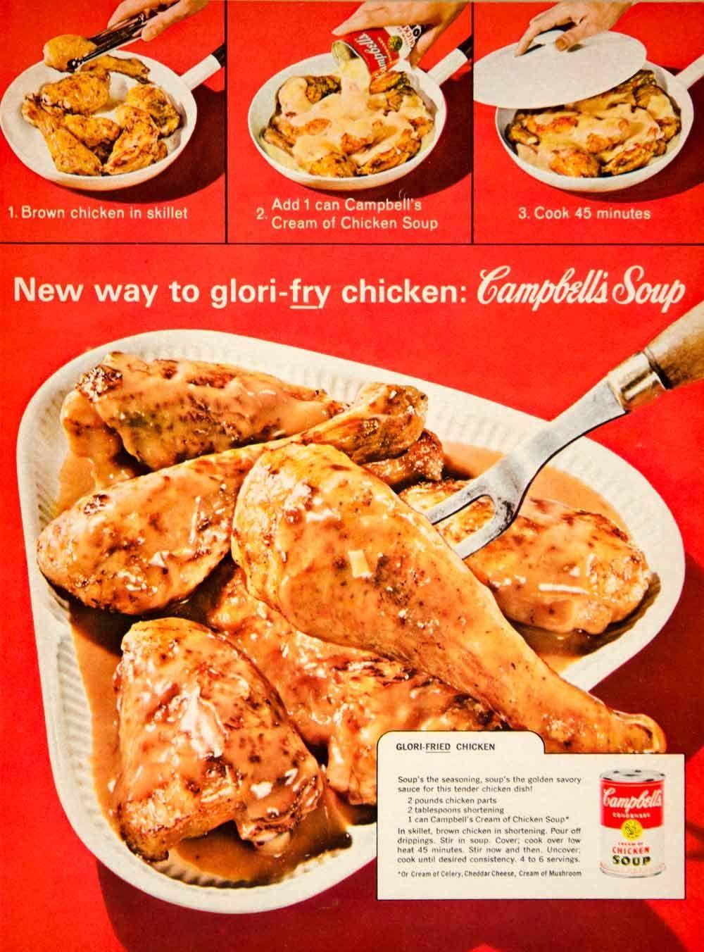 1963 Ad Campbell's Cream Soup Glori-Fried Chicken 60s Recipe