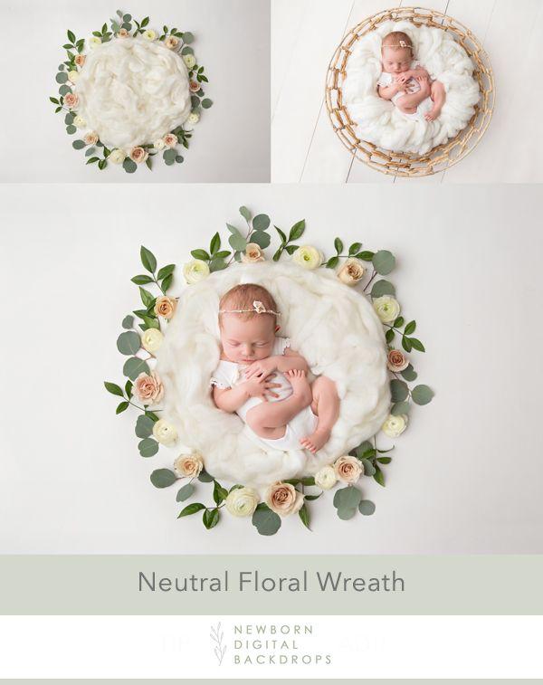 Newborn Digital Backdrop 008 – Neutral floral wreath