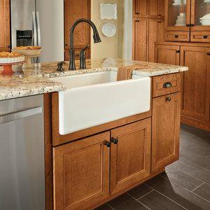 Apron Front Sink Base Kraft Maid Home Depot Cherry Cabinets Kitchen Farmhouse Sink Kitchen Kitchen Sink Decor