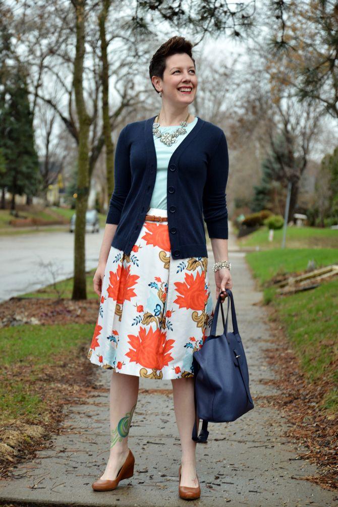 9b60efac14d3 Already Pretty outfit featuring navy cardigan, mint shirt, statement  necklace, silk skirt, ECCO wedges, navy blue handbag