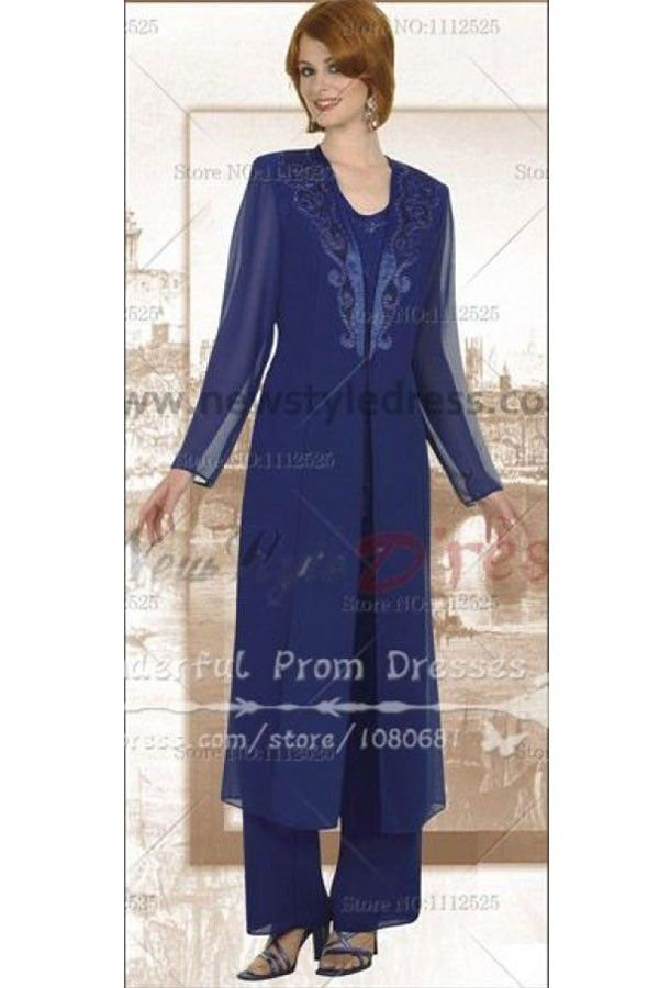 269bd882e91dc Chiffon Royal Blue mother of the bride pants suits with classic long jacket  nmo-050