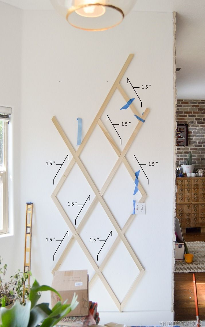 Diy wood and leather trellis plant wall m d h plant wall diy bedroom decor indoor - Indoor plant wall diy ...