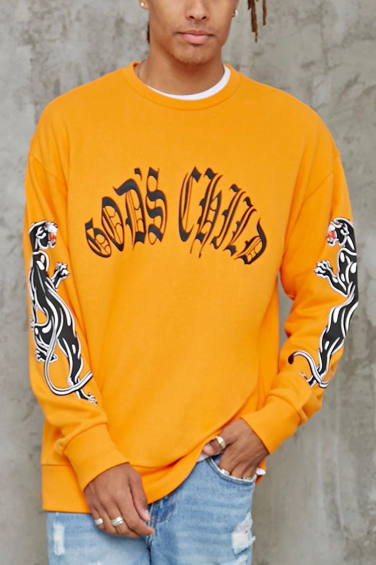 A French terry knit sweatshirt featuring a stylized