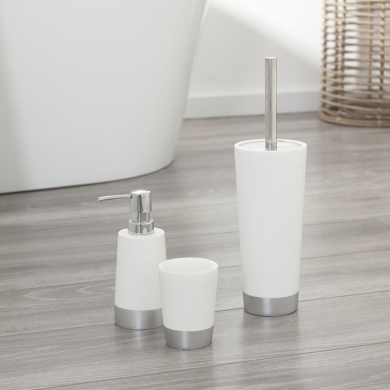 Sealskin 3 Piece Bathroom Accessories Set Glossy White And Silver