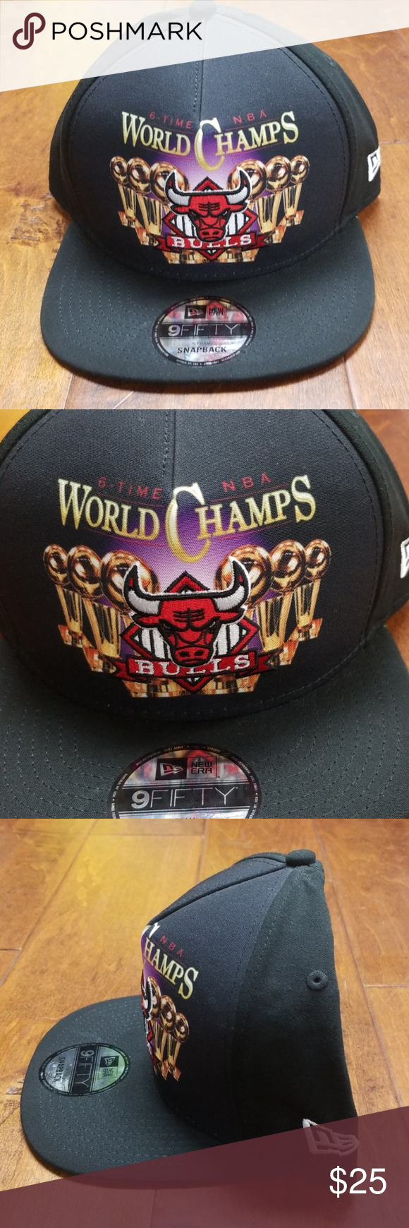 New Era NBA Chicago Bulls Champ Snapback Hat NWT Black