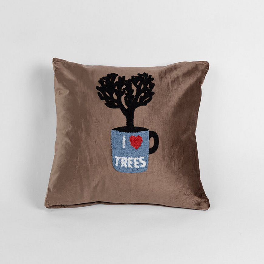 خدادية مربعة بحشوة مخملية بني Throw Pillows Pillows Cushions