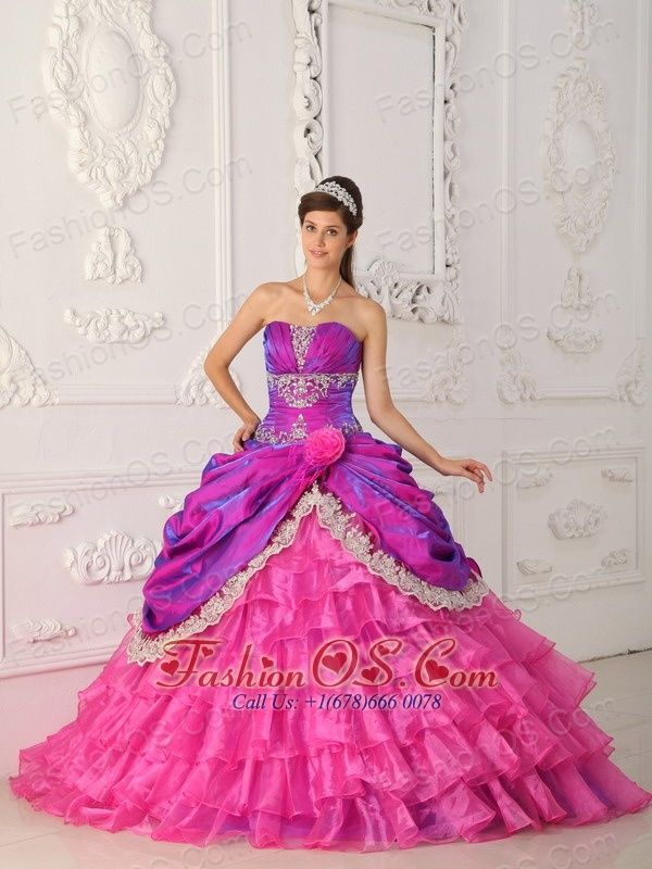 48426933a75 Find and Buy New Style Strapless Appliques Tiered Quinceanera Dress for  Girl on sale at cheap price for your perfect day.