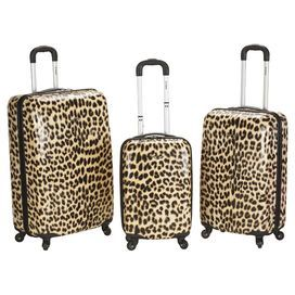 3-piece leopard-print suitcase set The hard-shell designs feature ...