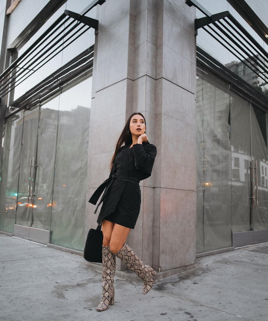 Knee High Snakeskin Boot Outfit Idea