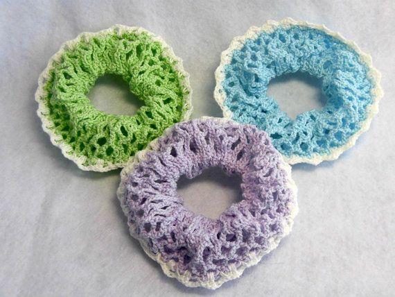 green Hand crocheted Hair Scrunchies