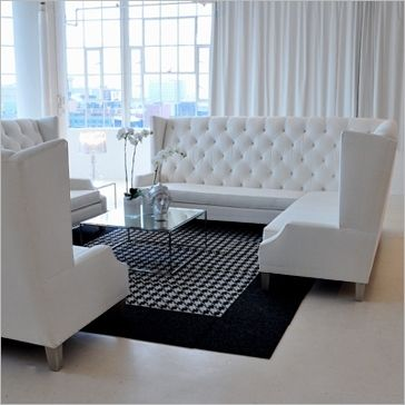 Elegant Tufted Banquette In A Plush White Microsuede With 4 White Throw  Pillows Each L