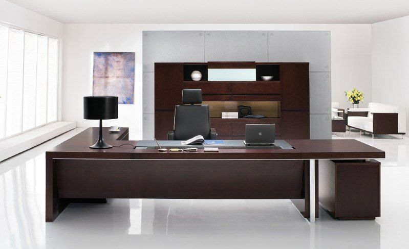 Executive Office Desk Good Color Harmony Of Dark Brown Furniture