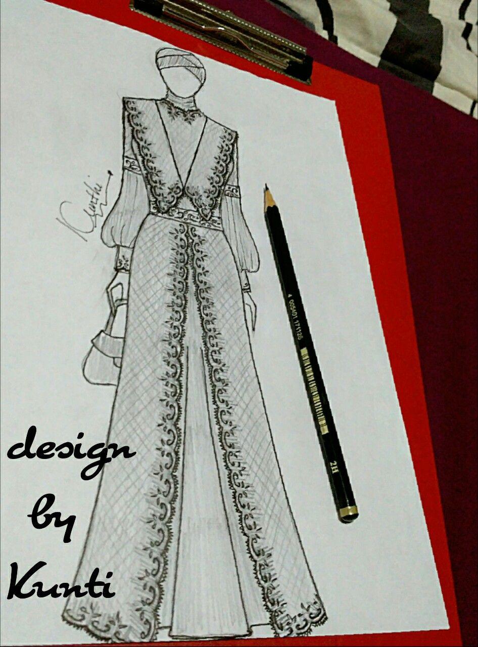 Muslim dress lace  Sketsa model pakaian, Sketsa, Cara menggambar