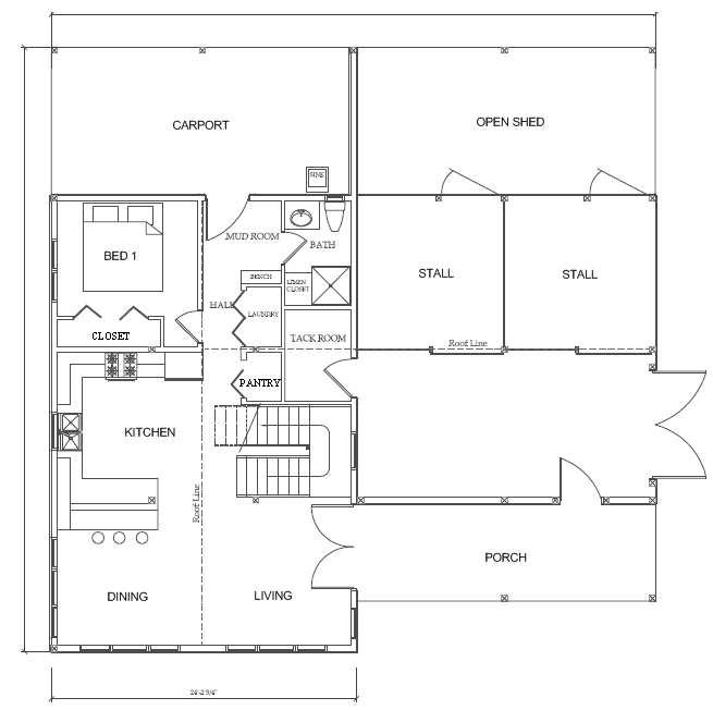 Western classic barn house yes barns pinterest for Horse barn layouts floor plans