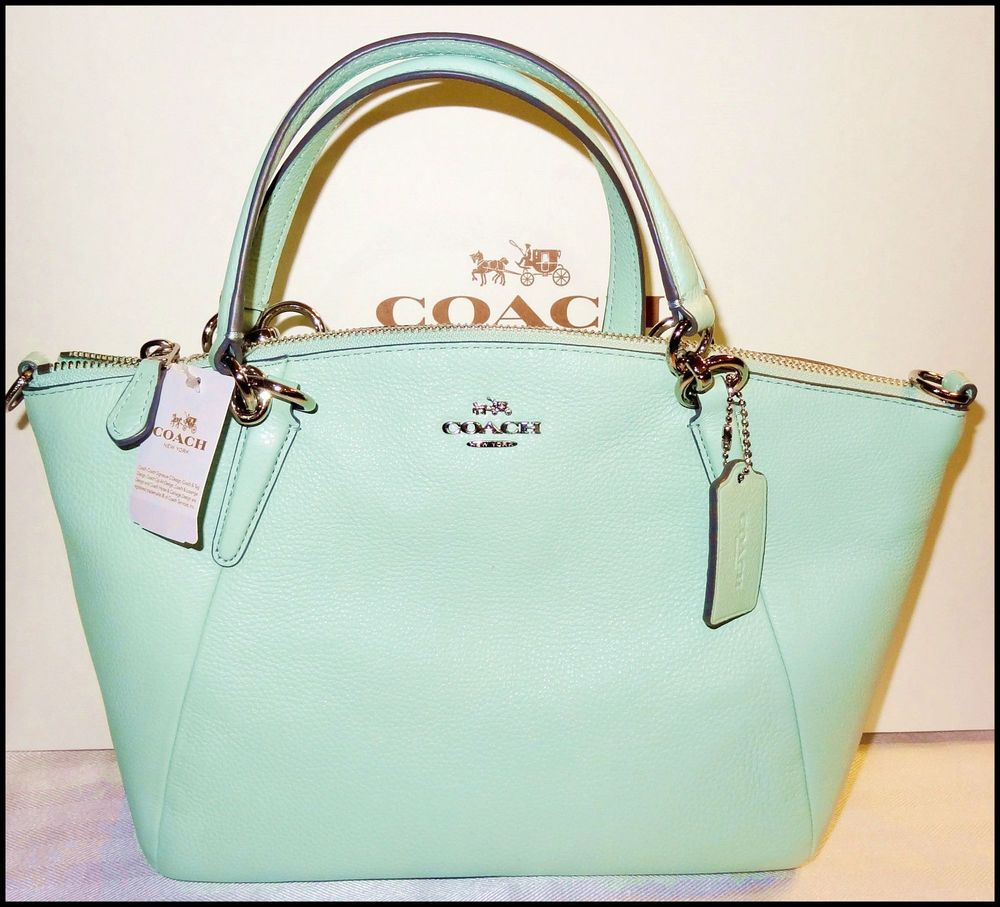 Coach Small Kelsey Leather Satchel Shoulder Bag Crossbody Seaglass ...