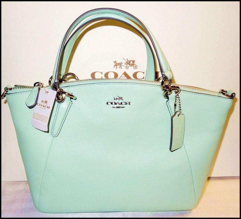 2e1487b46acb Coach Small Kelsey Leather Satchel Shoulder Bag Crossbody Seaglass Mint  Green #Coach #Satchel