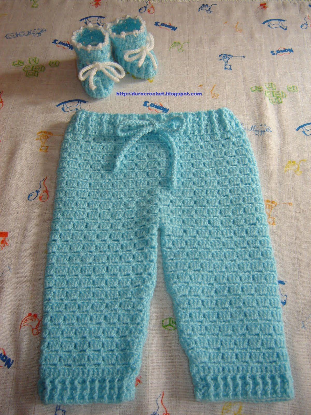 El baúl de Doro: Pantalón y zapatitos de bebé en crochet. | calcas ...