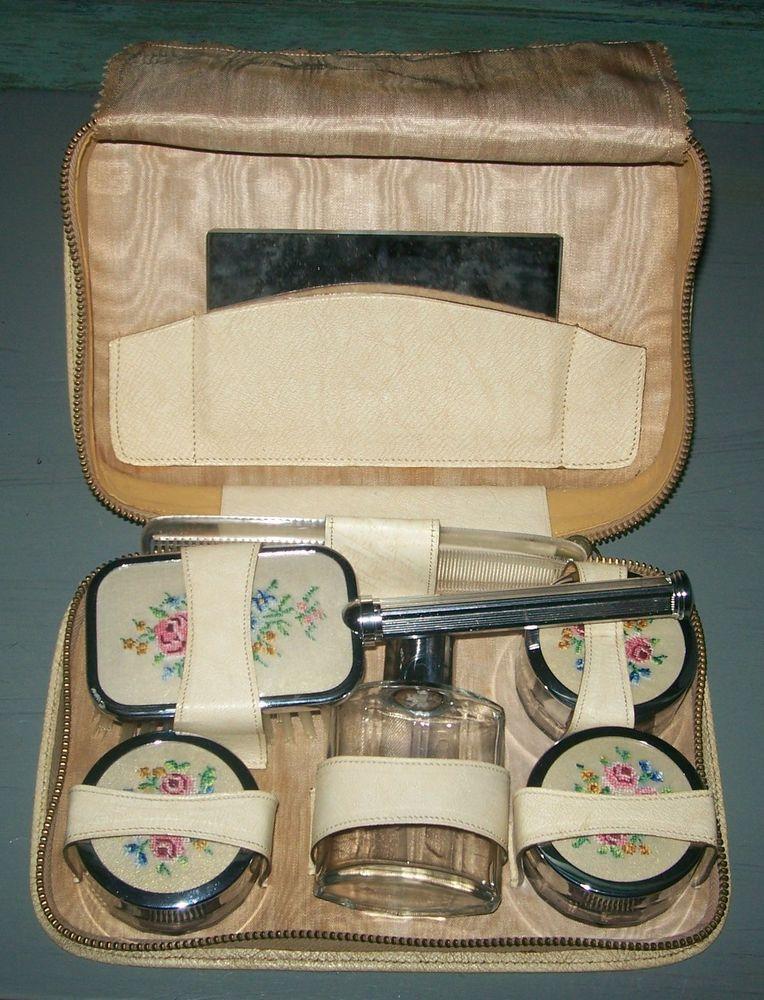 Vintage Ladies Two-Tix Petit Point 7pce Travelling Vanity Set Real Leather Case