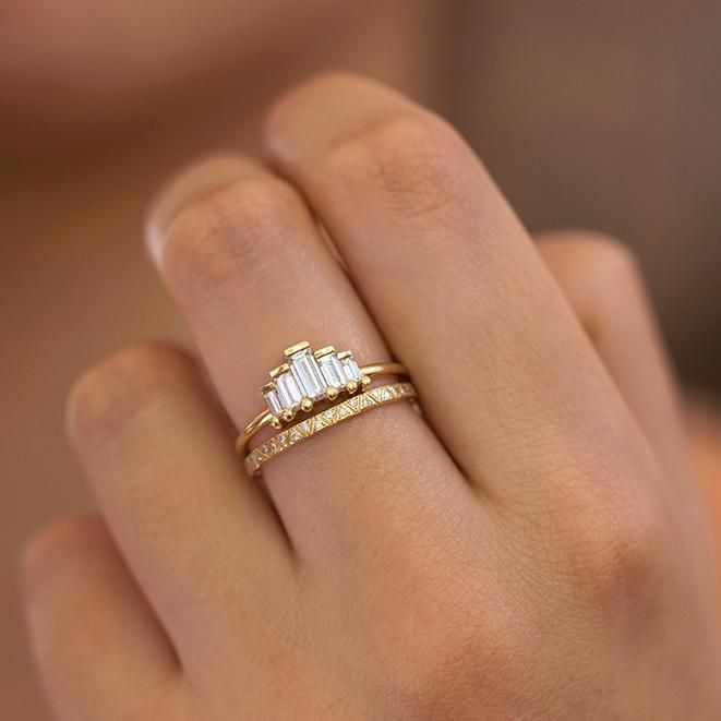 Photo of Art Deco Engagement Ring Set with Baguette Cut Diamonds