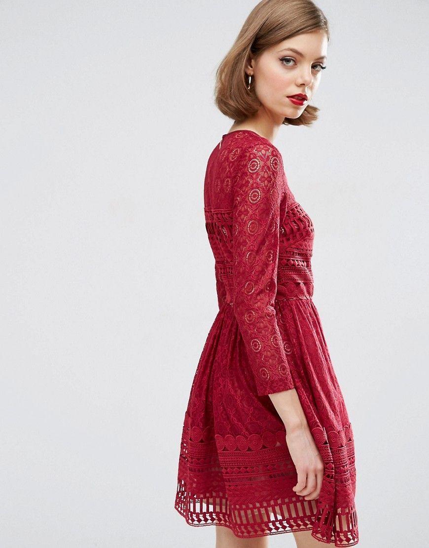 159f9b49f3 ASOS PREMIUM Lace Mini Skater Dress - Red
