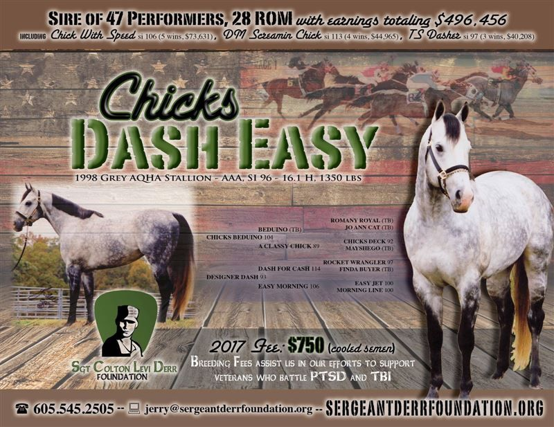 AQHA Stallion - Chicks Dash Easy AAA SI 96: Breeding fees assist the Sergeant Colton Levi Derr Foundation with our efforts to aid veterans and returning soldiers with issues related to Post Traumatic Stress Disorder (PTSD).   The Sergeant Colton Levi Derr Foundation honors the name of Colton Levi Derr.  Colton suffered with Post Traumatic Stress Disorder (PTSD) following his combat tours in Iraq and Afghanistan. In support of America's War on Terror during Operation Iraqi Freedom and Oper...