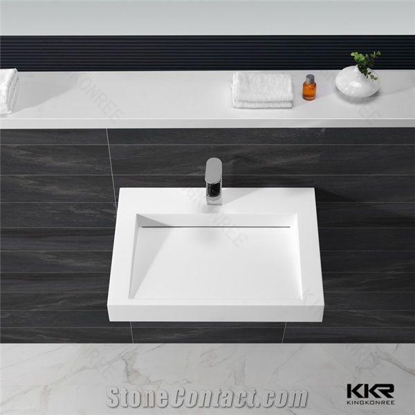 Kkr White Wall Hung Basin, Italian Design Bathroom Sink, Solid Surface Hand  Wash Basin   Kingkonree International China Surface Industrial Co.,Ltd.