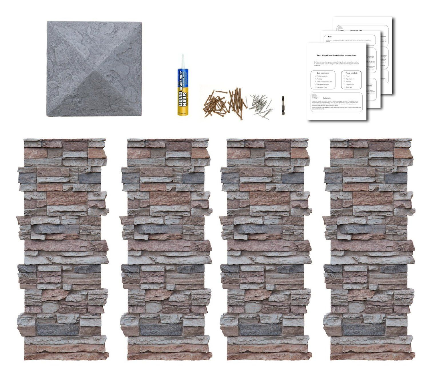 Faux stone column wraps with easy install kit pole wrap for Garage column wrap