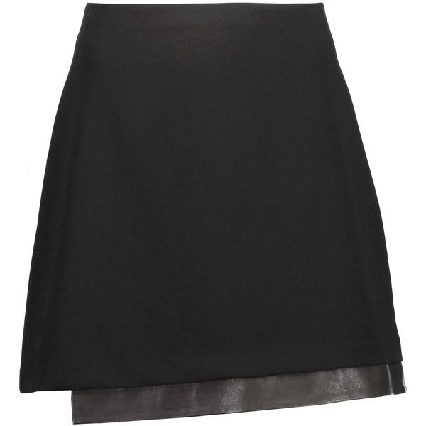 Alice + Olivia Darcie asymmetric leather-trimmed crepe mini skirt (330 BAM)  ❤