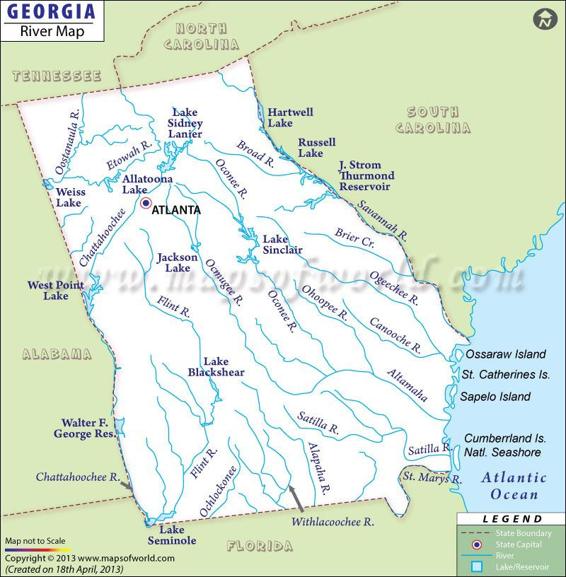 Georgia River Map | Georgia on my mind | Georgia, State map, Map